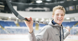 Flint, MI - Tuesday, January 30, 2018: Center for the Flint Firebirds, Ty Dellandrea, 17, set a new event record for the Sherwin-Williams CHL/NHL Top Prospects Game, with two goals within 20 seconds by a single player.