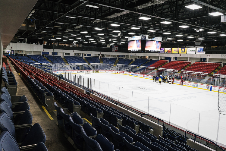 Flint, MI - Tuesday, January 30, 2018: The Davison High hockey team practices on the ice at the Dort Federal Event Center.