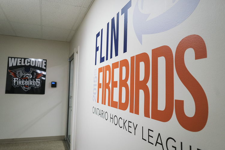 Flint, MI - Tuesday, January 30, 2018: The administrative offices are adorned with Flint Firebirds decorations, the anchor tenant of the Dort Federal Event Center.