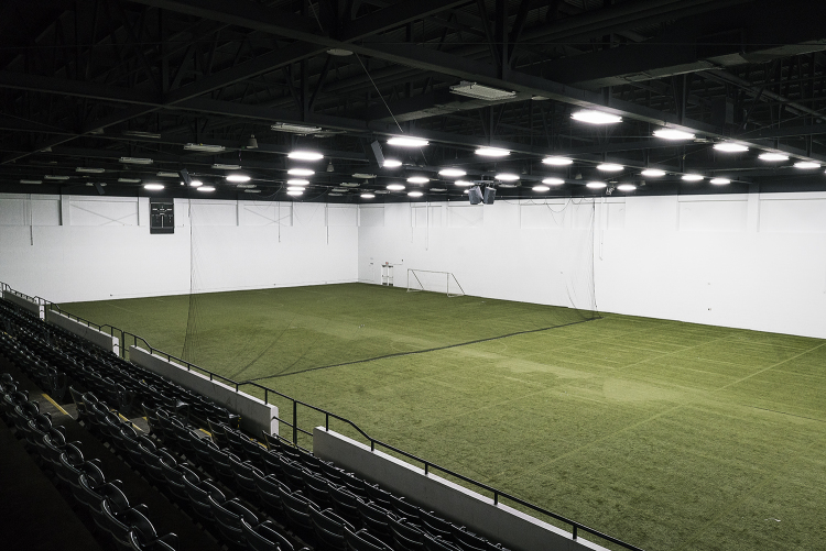 Flint, MI - Tuesday, January 30, 2018: A spectator view of the 30,000 square foot field and second arena at the Dort Federal Event Center.