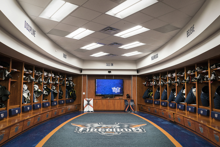 Flint, MI - Tuesday, January 30, 2018: The updated, pro-style Flint Firebirds locker room boasts a fully equipped strength and conditioning facility, theater for viewing film and lounge for the players at the Dort Federal Event Center.