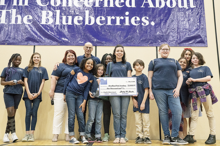 Flint, MI - Friday, May 4, 2018: Garnering 13,873 votes out of 56,350, Woodland Park Academy takes home the People's Choice Award with a $1,000 donation from Blueberry Founder Phil Shaltz during the 5th Annual Blueberry Ambassador Awards Party at the