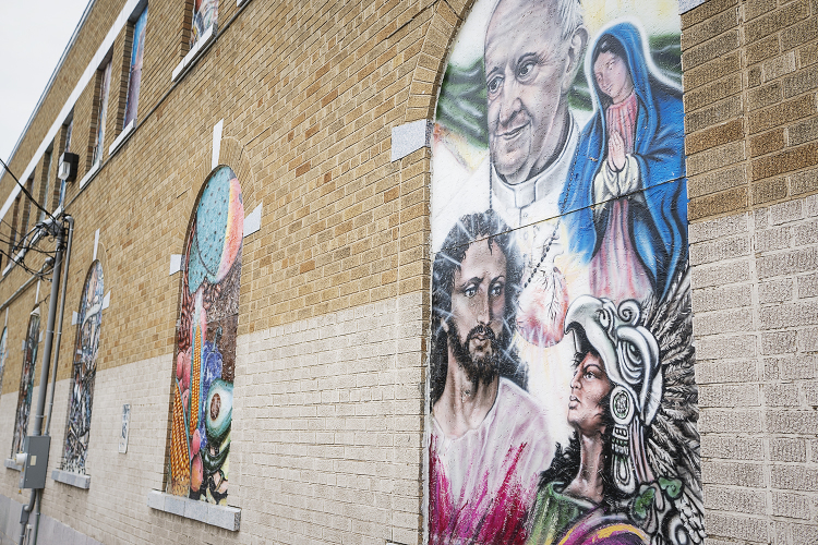 Flint, MI - Tuesday, June 19, 2018: Murals adorn the walls at the Hispanic Technology and Community Center of Flint.