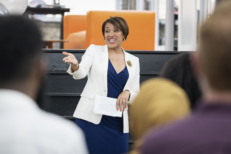 Flint, MI - Thursday, June 22, 2018: Flint Mayor Karen Weaver speaks to the audience during the move-in party at The Ferris Wheel in Downtown Flint.