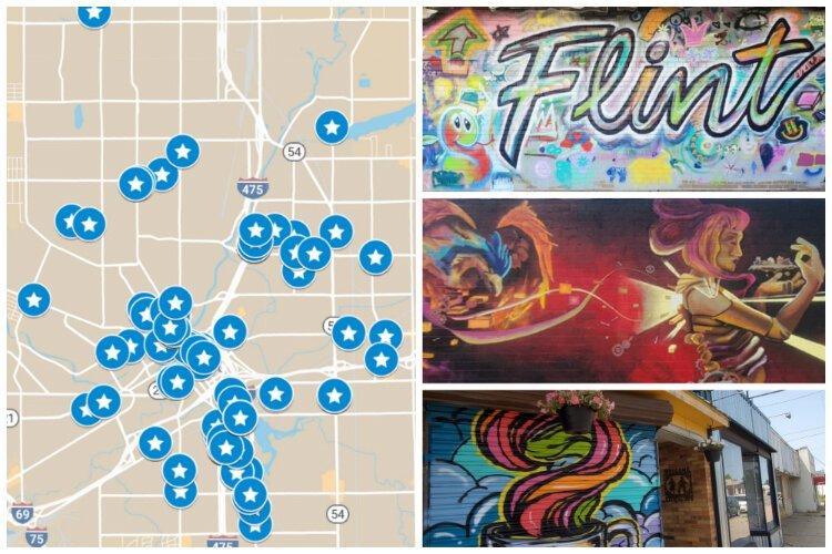 Here's a map to all 100 of the murals transforming Flint ... on map t-shirt designs, map wall art, map book covers, map craft projects, map tattoo designs, map border designs, map wallpaper, map tiles, map art ideas, map canvas painting, map of america, map wall decal, map still life, map posters,