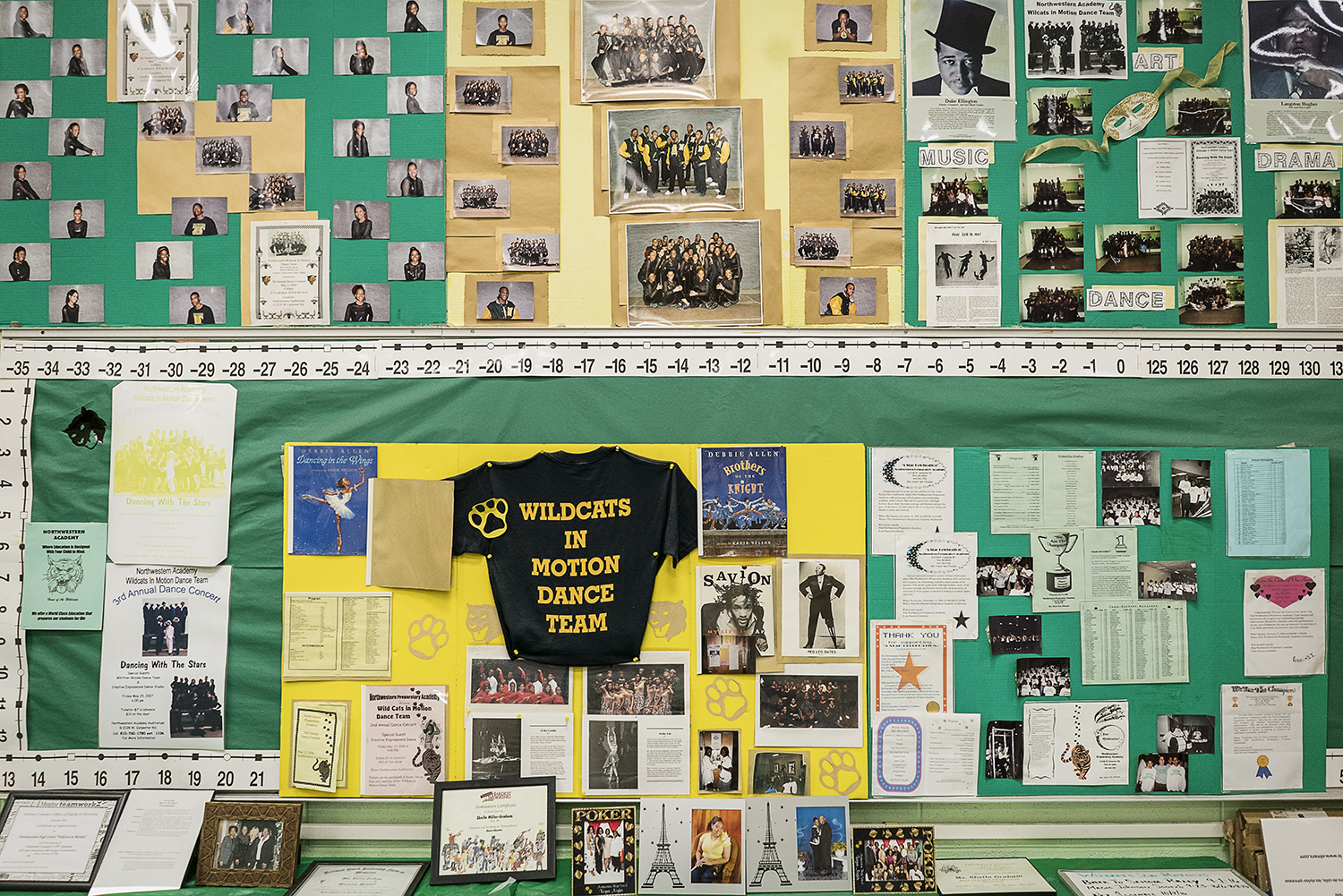 Accolades, photographs and flyers adorn the walls in Sheila Miller-Graham's classroom at Flint Northwestern High School. Miller-Graham has influenced generations of Flint dancers.