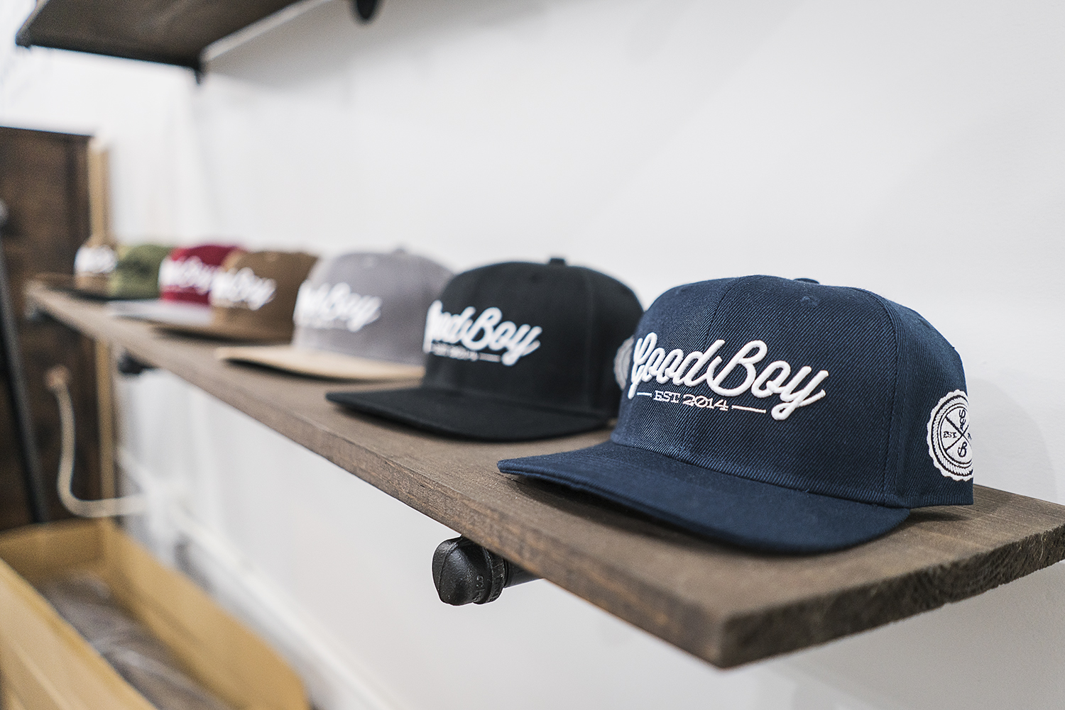 Shelves are lined with brand new merchandise in the new GoodBoy Clothing showroom in downtown Flint. The crew at GoodBoy has been preparing tirelessly for the upcoming grand opening event on Friday, November 17, 2017.