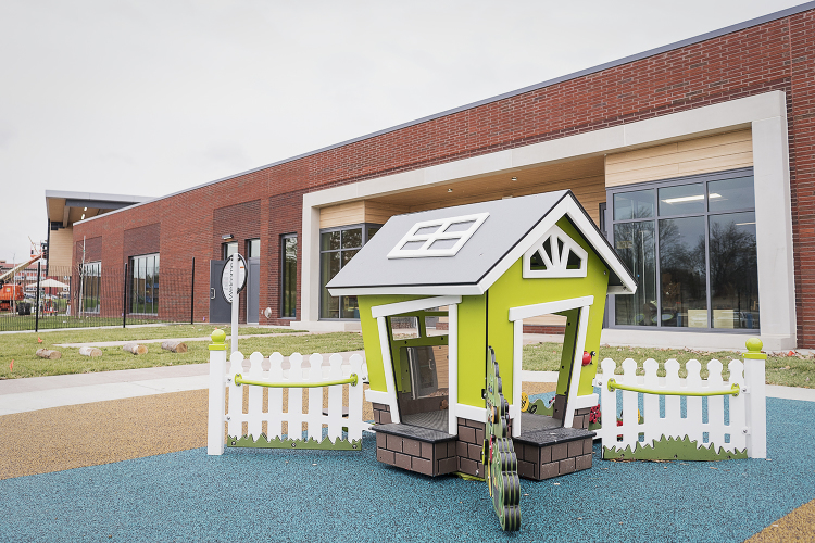 Flint, MI - Tuesday, November 21, 2017: A small playhouse sits outside of the new Educare Center in Flint in the attached play space outside of one of the classrooms.