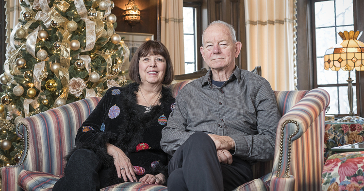 Rosanne (left) and Steve Heddy have donated over $300,000 to various charities and college funds over the past twenty years by opening their home for guests to revel in the holiday spirit and view their large Christmas tree collection.