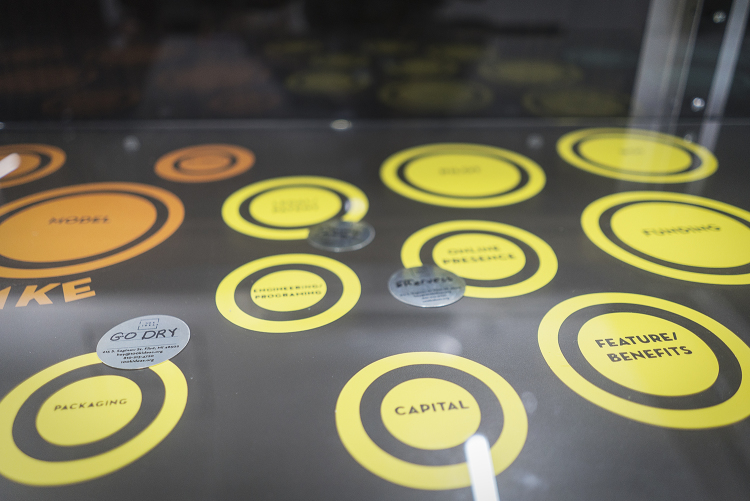 The game board at 100K Ideas tracks the progress of innovators' ideas as they work closer to going to market.