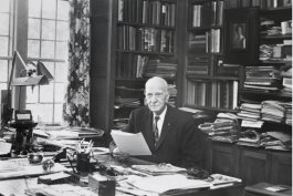 Charles Stewart Mott its at his desk at Applewood in this undated photo.