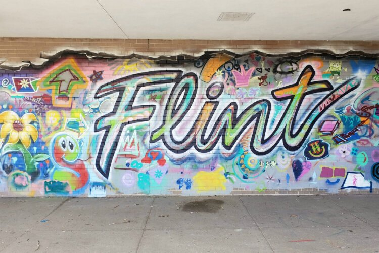 One of dozens of murals painted in Flint this year as part of a massive effort by the Flint Public Art Project.
