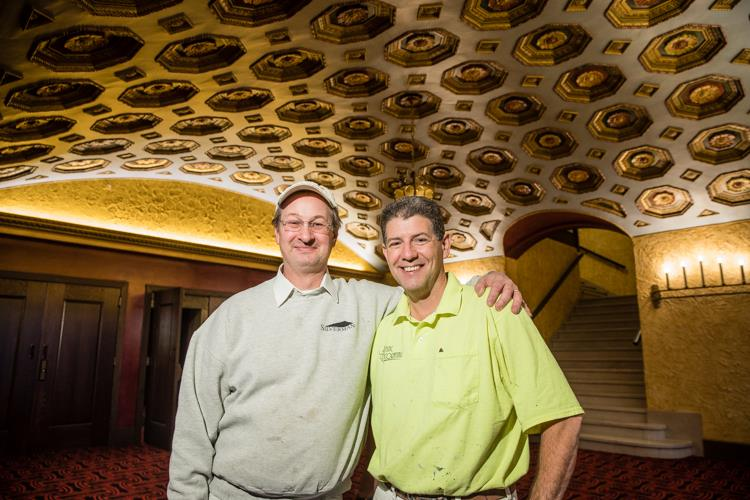 Richard Lipp created the plaster designs and Joe Katrinic, Jr., lead painting efforts to restore the Capitol Theatre in downtown Flint.