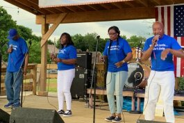 Gospel quartet 2+2 will perform during the Civic Park Centennial Gospel Celebration. Here they perform during the 2019 Heritage and Harmony festival.