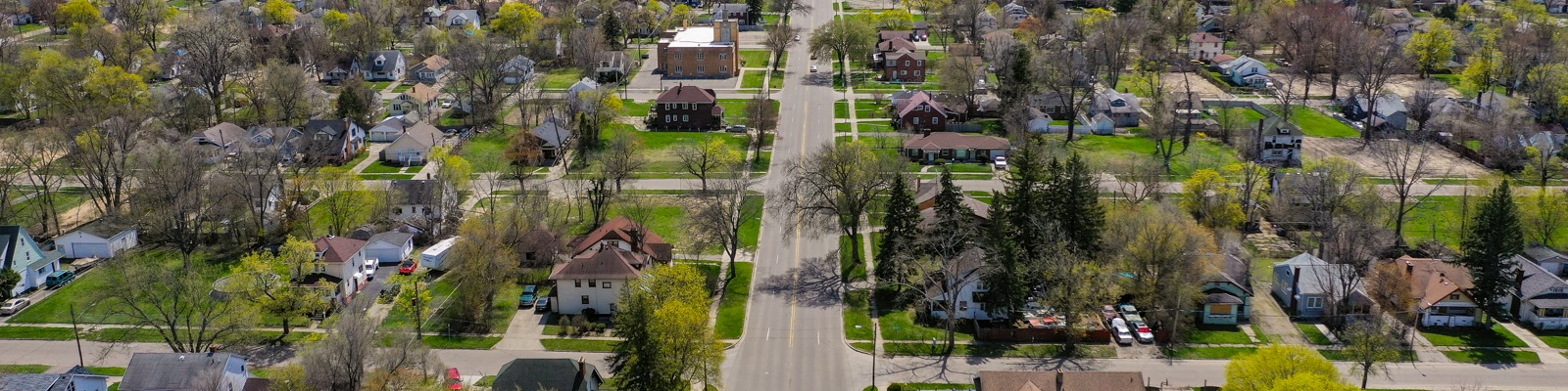 Spring is coming into bloom across Flint neighborhoods. This view from above shows Martin Luther King Avenue near Pasadena.