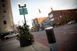 New lighted markers have been installed throughout downtown as part of the new Flint AutoPark system.
