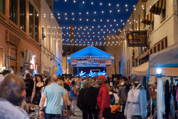 Alley Fest returns to both Buckham and Brush alleys in downtown Flint this weekend. Pictured here: The main stage in 2017.