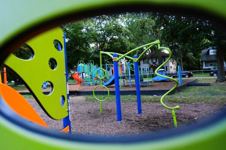 The playground at Bassett Park is located near Haskell Community Center.