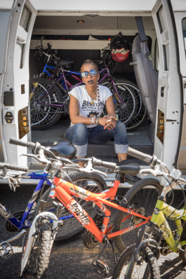Angela Stamps, Detroit native and dedicated Flint transplat, who founded Berston Bike Club in 2012.