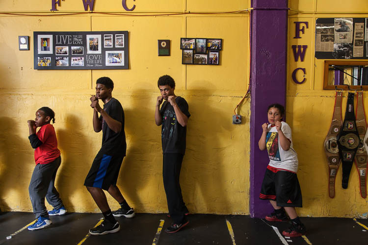 Boxers run through drills in the boxing gym at Berston Field House in Flint.
