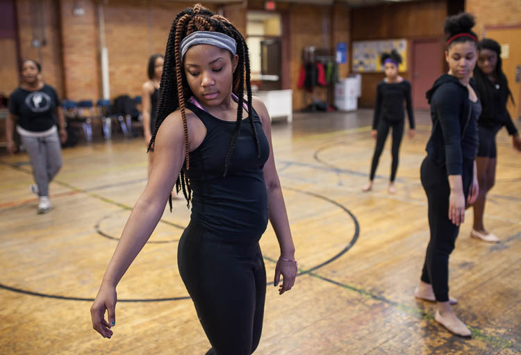 Janiyah Fells, 12, of Flint runs through a routine under the direction of Creative Expressions Dance Studio instructor Jamise Wash-Lang (cq) at Berston Field House in Flint.