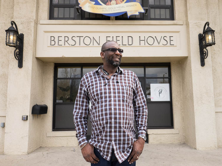 Bryant Nolden, executive director of the Friends of Berston, stands outside the facility on North Saginaw Street in Flint.