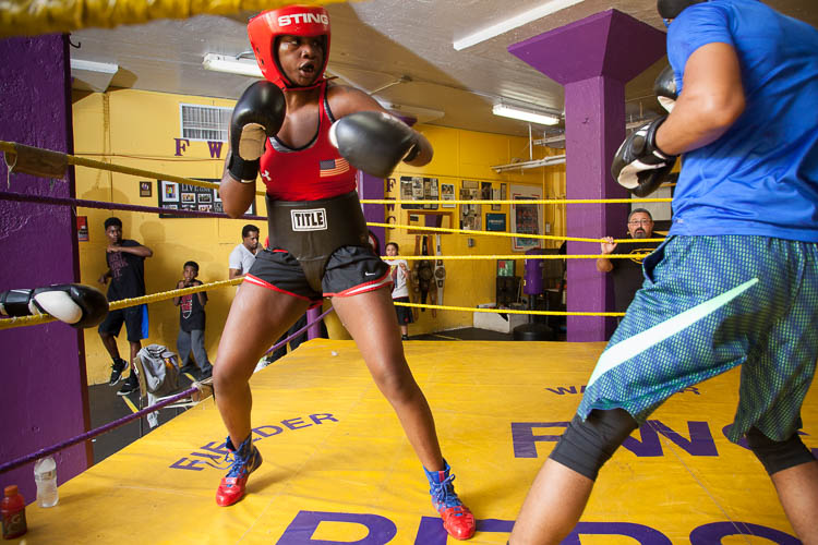 Two-time Olympic gold medalist Claressa Shields spars in the boxing gym at Berston Field House in Flint.