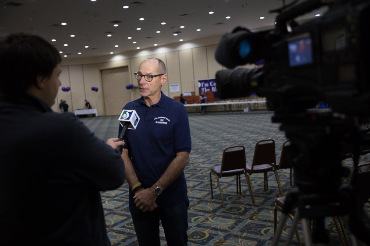 Blueberry Founder Phil Shaltz talks to media before the start of the 2017 awards ceremony.