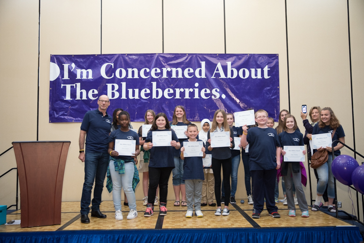 One student from every participating school district was honored for their excellence, receiving the Blueberry Blue Ribbon Award and a gold wristband.