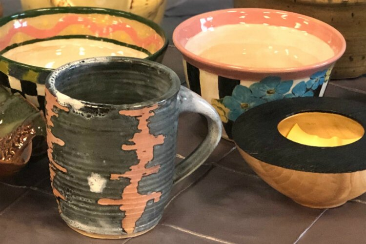 A few examples of the pottery available at the 2019 Empty Bowls fundraiser for the Food Bank of Eastern Michigan.