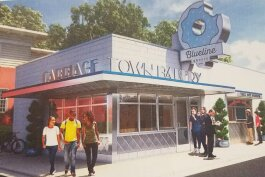 An artist rendering of the planned storefront for Carriage Town Bakery at 604 Garland Street in Flint.