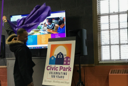 The logo for the Civic Park centennial celebration is unveiled during a launch party March 9, 2019 at Joy Tabernacle Church.