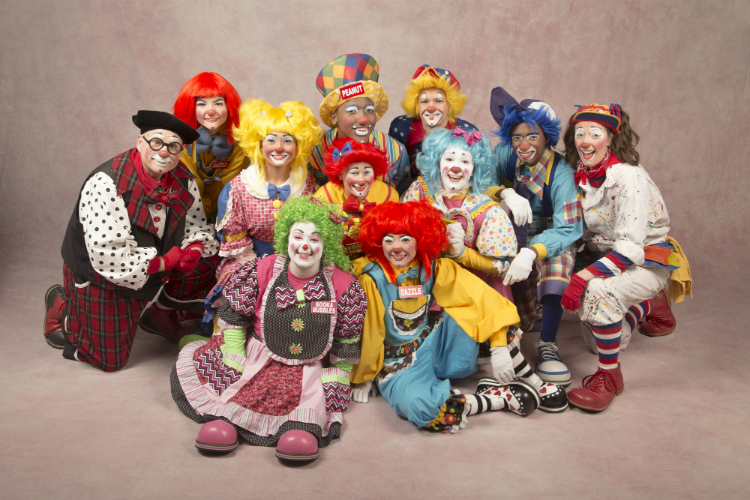 "The 2017-18 Mott Campus Clown troop ""official portrait."""
