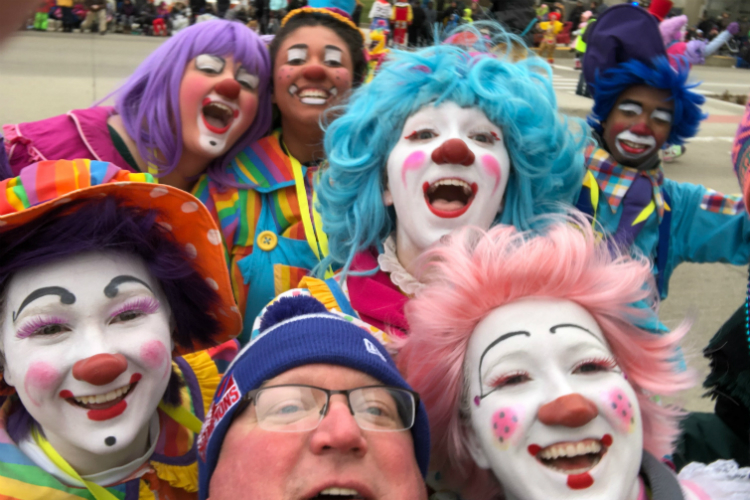 A troupe of 26 current and alumni Mott Community College clowns performed during the Detroit Thanksgiving Day parade.