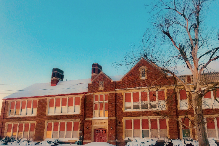 The historic Flint Coolidge Elementary School is being transformed into a complex featuring 54 apartments as well as commercial and community space.