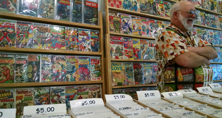 A vendor with his impressive display at the 8th annual Flint Comix Con.