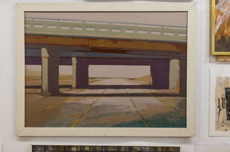 An interstate bridge in downtown Flint. From the Stefan Davidek retrospective exhibit at Buckham Gallery in Flint.