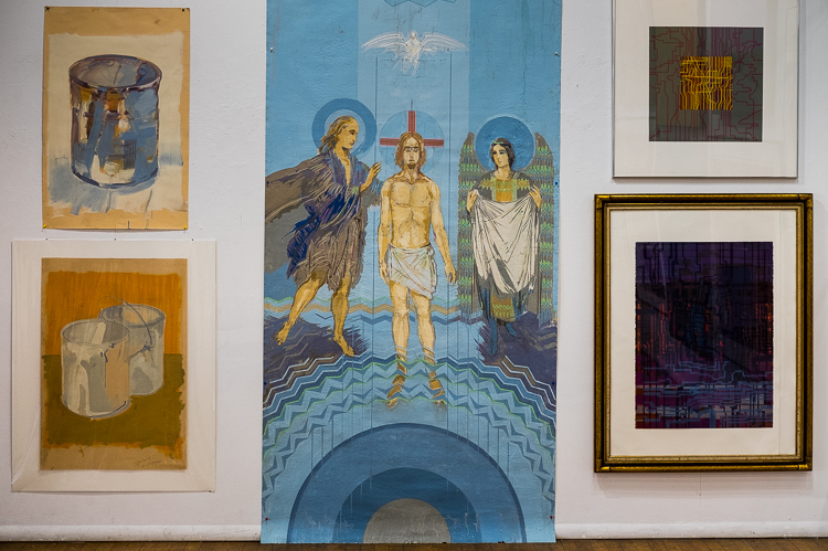 A mural intended for a church interior. Part of the Stefan Davidek retrospective exhibit at Buckham Gallery in Flint.