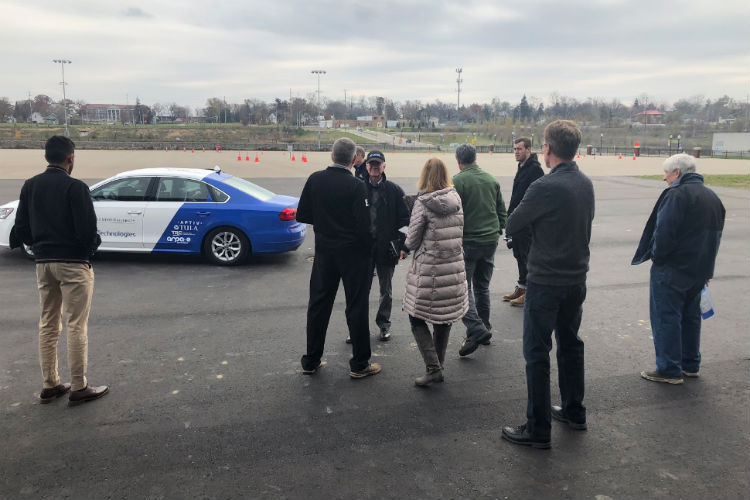 Delphi Technologies uses the new GM Mobility Center at Kettering University to do a demonstration of its intelligent drive technology.