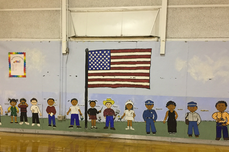 A mural inside the Flint Development Center, which opened for summer programs in the former Bunche Elementary School building.