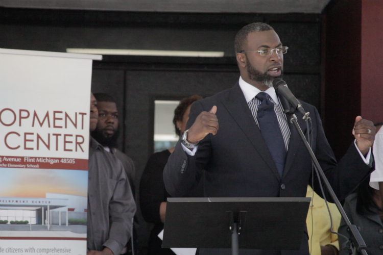Pastor Daniel Smith of Evergreen Missionary Baptist Church led the efforts to open Flint Development Center in the former Bunche Elementary School building.