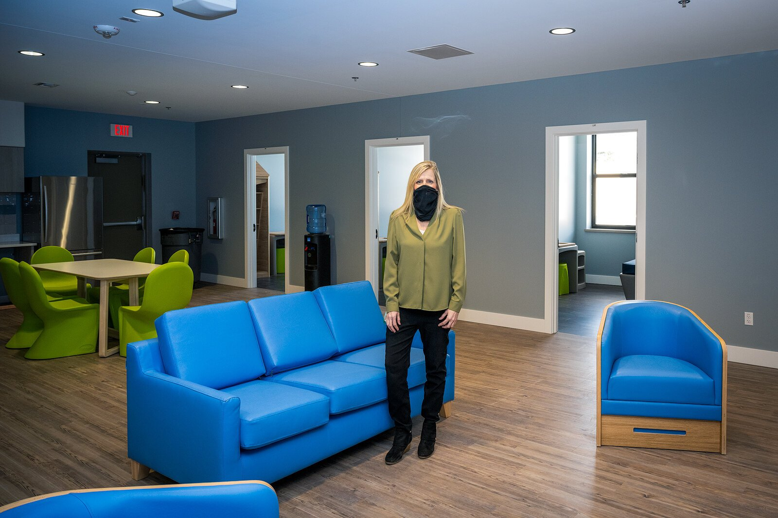 Maribeth Leonard in the crisis residential services unit at LifeWays Community Mental Health's new mental health crisis service center, funded by Jackson County's mental health millage.