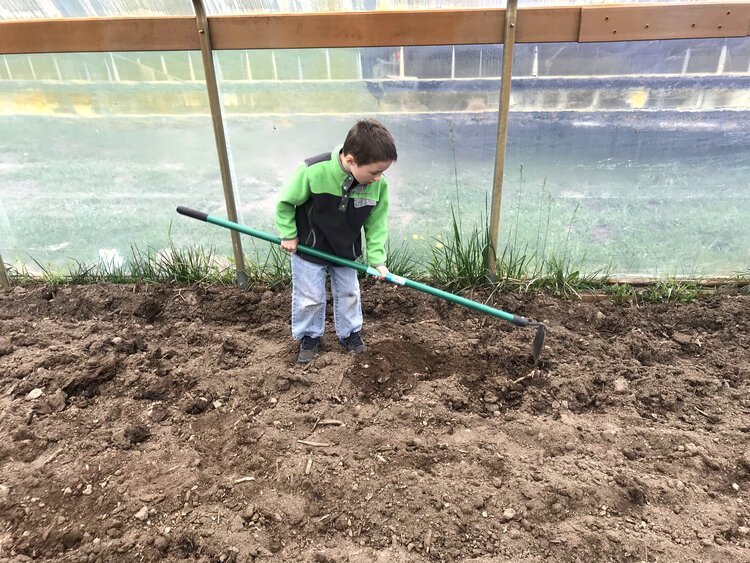 A student works in the new greenhouse at North Pennfield Elementary in Battle Creek.