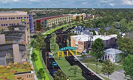 A rendering of what  Flint could look like if a portion of I-475 were eliminated.