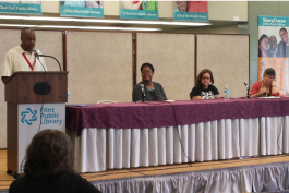 Panelists at the first Flint Literature Festival in 2017.
