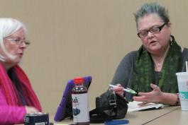 "Offering encouraging words and critique, Nancy Tucker (left) Martha ""Mart"" Allard participate in a recent Flint Area Writers meeting."