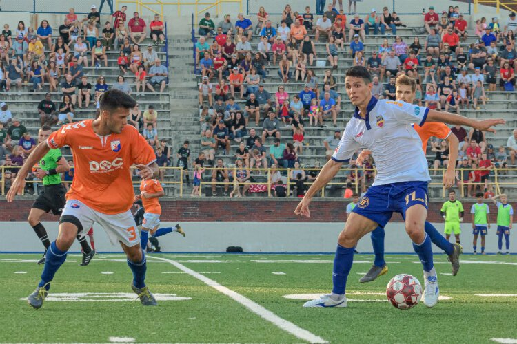 Yuri Farkas dominates during the a match up with the Dayton Dutch Lions Football Club.