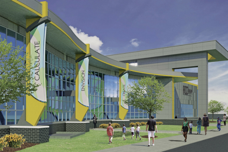 Community leaders and dignitaries broke ground on Tuesday, June 26, 2018, on the Flint Cultural Center Academy, a charter school being built through a $35 million donation from the Charles Stewart Mott Foundation. This image shows the east facade of