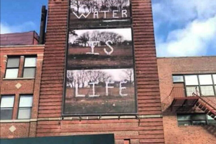 The #waterislife mural on the side of Gavin Brown's Enterprise in New York.