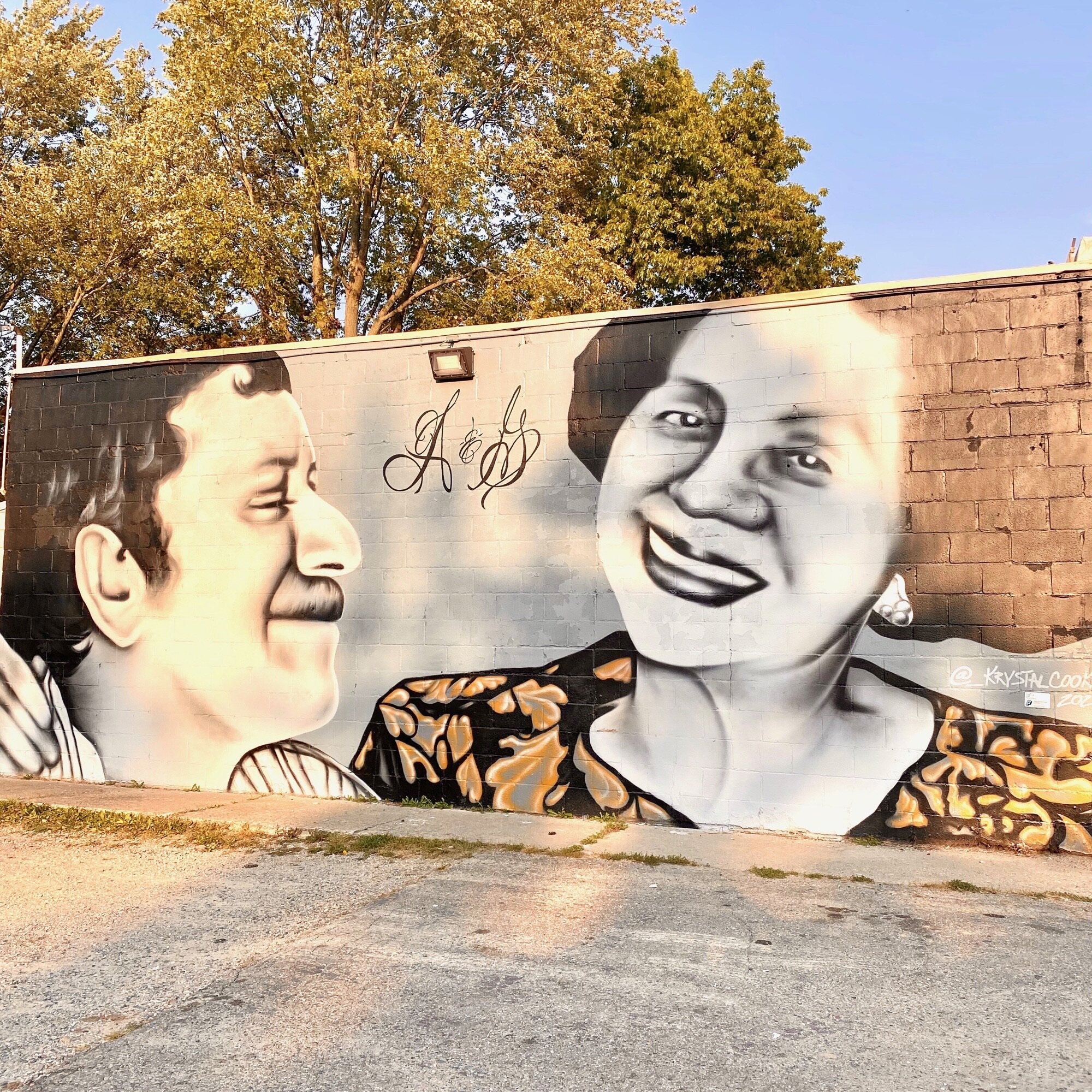 Local artist Krystal Cooke created this mural of A&G founders and namesakes Guadalupe and Abraham Alberto.